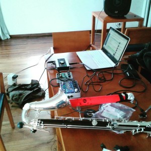 bass clarinet and the chosen preparation: a boomwhacker pipe, microphone and pedals.